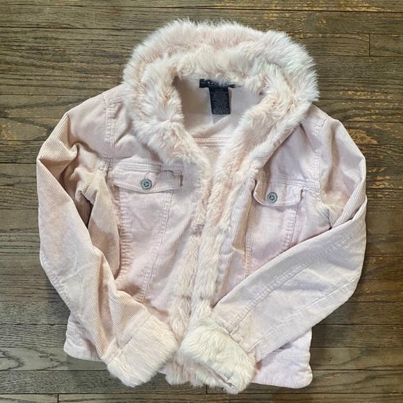 Rampage Soft Pink Corduroy Jacket - Fur Tr…